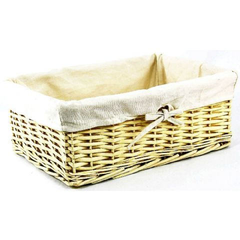Rectangle A4 Light Wicker Storage Basket Cream Lining